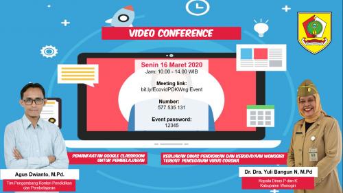 Sikapi Penyebaran Corona, Dinas P dan K Wonogiri Gelar Video Conference