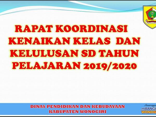 Dinas P & K Kabupaten Wonogiri Selenggarakan Vicon Kenaikan dan Kelulusan Sekolah Dasar