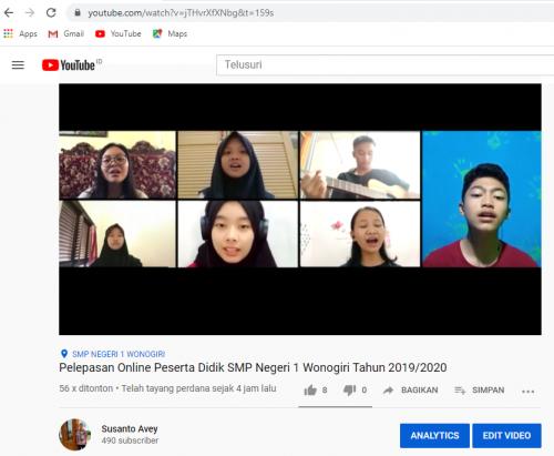SMP Negeri 1 Wonogiri Gelar Pelepasan Peserta Didik Secara Online