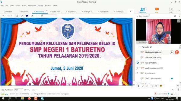 SMPN 1 Baturetno Gelar Video Conference Pelepasan Siswa