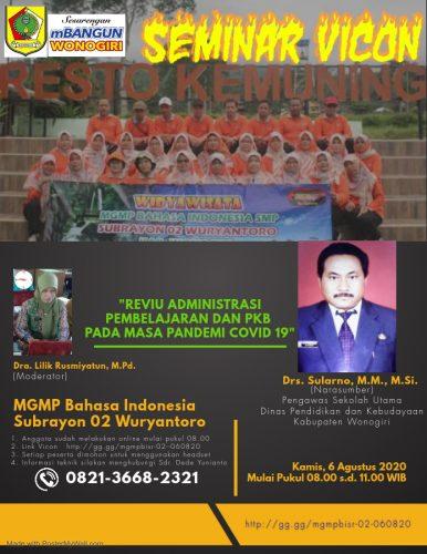 MGMP Bahasa Indonesia Subrayon 02 Wuryantoro Gelar Seminar Online