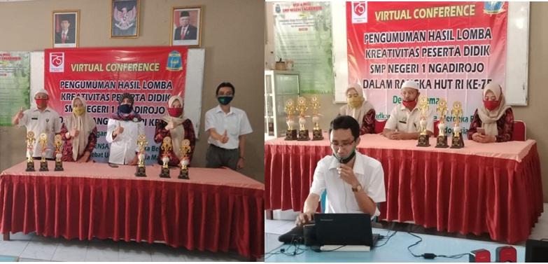 SMP Negeri 1 Ngadirojo Gelar Video Conference Pengumuman Hasil Lomba HUT Ke-75 RI