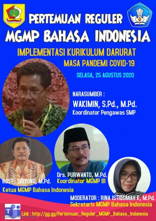 MGMP MAPEL BAHASA INDONESIA GELAR PERTEMUAN REGULER SECARA VIRTUAL