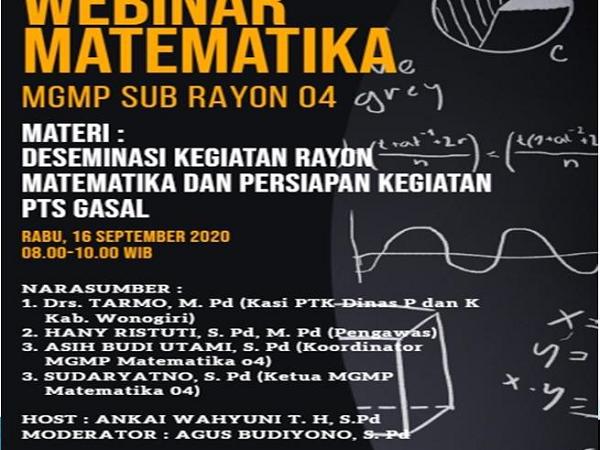 """MGMP Matematika SR 04 Jatisrono Gelar Webinar """"Deseminasi Kegiatan Rayon Matematika dan Persiapan PTS Gasal"""""""