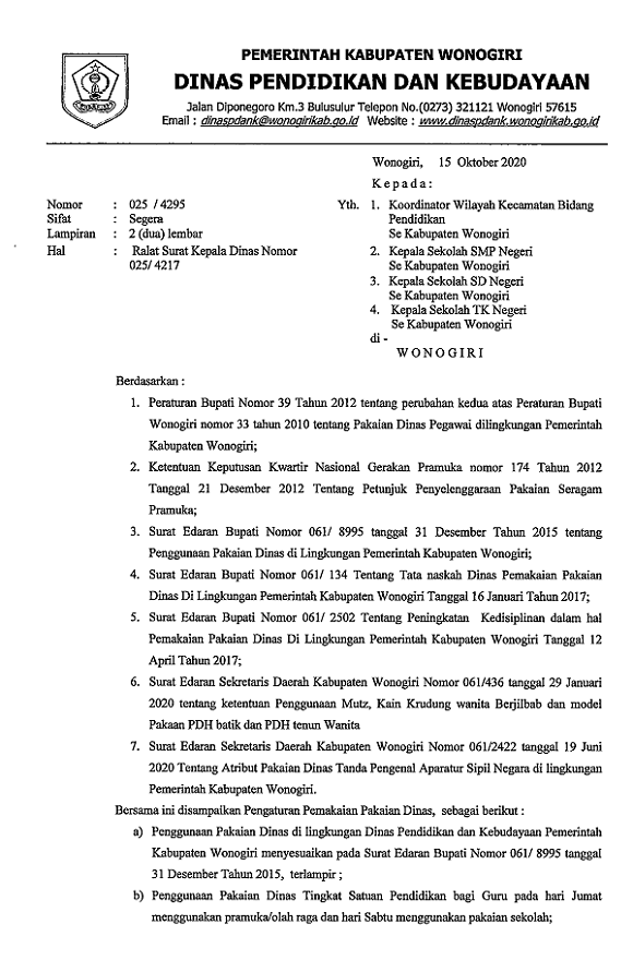 Ralat Surat Kepala Dinas Nomor 025/4217 Tentang Penggunaan Pakaian Dinas