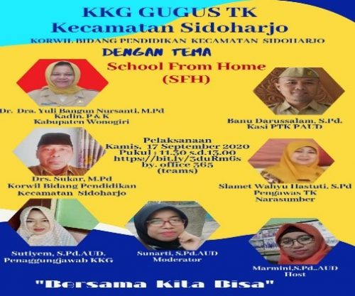 Guru TK Sidoharjo Gelar Vicon KKG Bertajuk School From Home