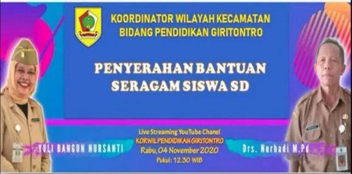 Dinas P dan K Wonogiri Serahkan Seragam Gratis di Giritontro