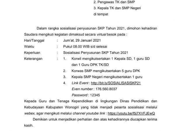 Sosialisasi Teknis Penyusunan SKP tahun 2021