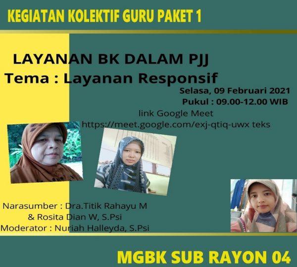 MGBK Subrayon 04 Jatisrono Gelar Webinar KKG BK Bertema Layanan BK Dalam PJJ
