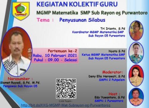 MGMP Matematika SMP Sub Rayon 05 Purwantoro Adakan Webinar Silabus Masa Pandemi untuk Memaksimalkan  PJJ