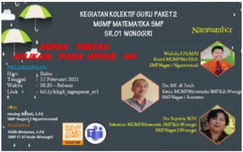 KKG Matematika Sub Rayon 01 Wonogiri Gelar Pembuatan Kelas Microsoft Office 365
