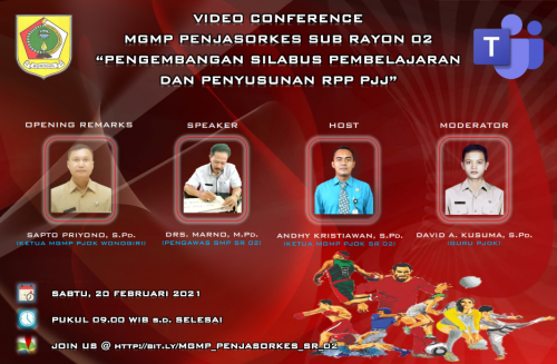 MGMP Penjasorkes Subrayon 02 Gelar KKG Melalui Video Conference