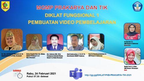 MGMP Prakarya dan TIK Selenggarakan Diklat Fungsional  Pembuatan Video Pembelajaran
