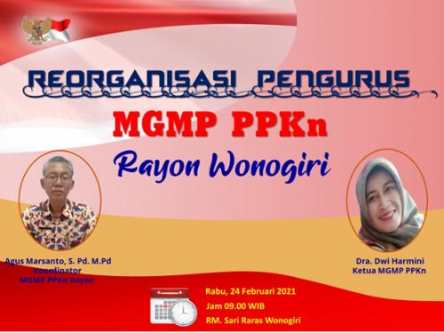 MGMP PPKn Rayon Kabupaten Wonogiri Gelar Reorganisasi Pengurus