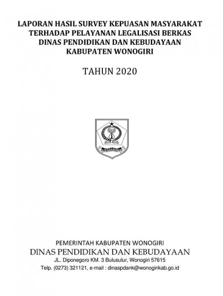 Hasil Survey Kepuasan Masyarakat Terhadap Pelayanan Legalisasi Berkas Dinas P dan K