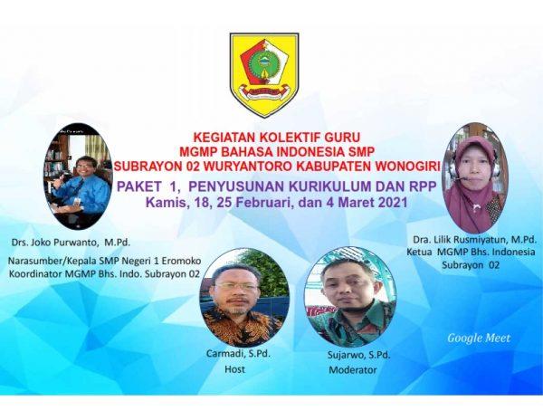 MGMP Bahasa Indonesia Subrayon 02 Awali Kegiatan Kolektif Guru Secara Virtual