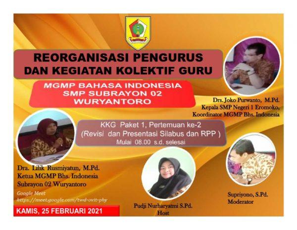 MGMP Bahasa Indonesia 02 Laksanakan Reorganisasi dan KKG secara Virtual