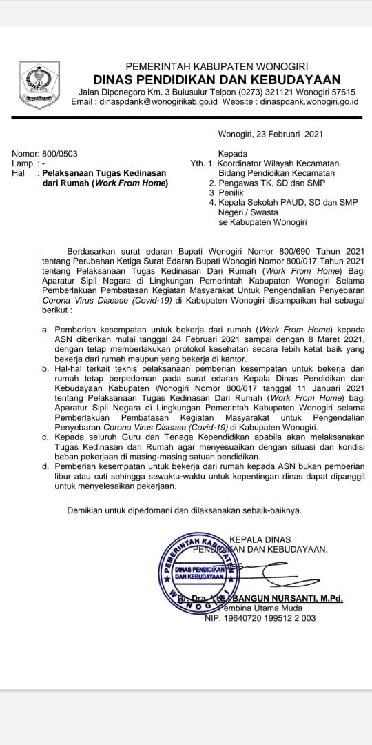 Edaran Pelaksanaan Tugas Kedinasan Bidang Pendidikan Kecamatan dari Rumah (Work From Home)
