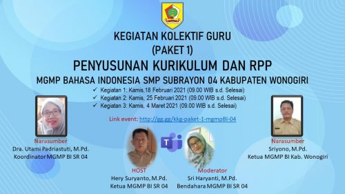 MGMP Bahasa Indonesia SR 04 Jatisrono Gelar KKG Paket 1