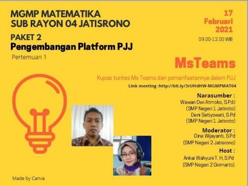 MGMP Matematika SR 04 Jatisrono Selenggarakan Webinar Pengembangan Platform PJJ
