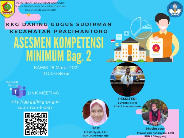 KKG Gugus Sudirman Pracimantoro Gelar Webinar Tentang Asesmen Kompetensi Minimum Bagian yang Kedua