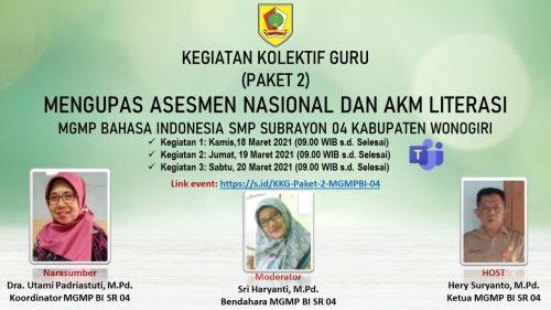 Gelar KKG Paket 2 MGMP Bahasa Indonesia SMP SR 04 Jatisrono