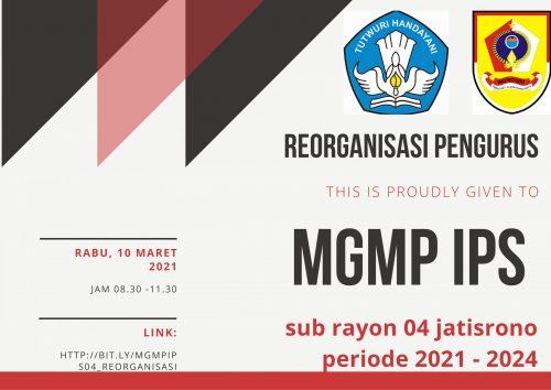Reorganisasi Pengurus MGMP IPS Subrayon 04 Jatisrono