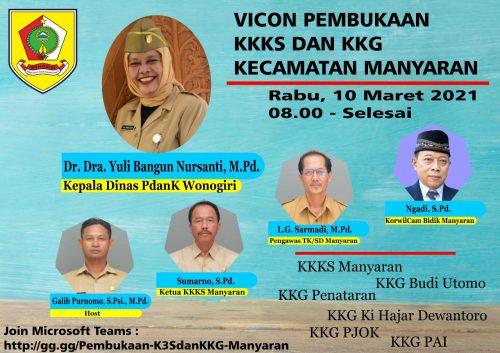 Vicon Perdana KKKS dan KKG Kecamatan Manyaran bersama Kepala Dinas