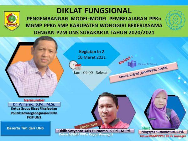 MGMP PPKn Kabupaten Wonogiri Selesaikan Diklat Fungsional In Service 2