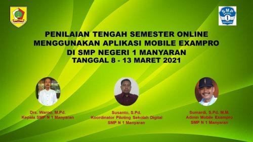 SMP Negeri 1 Manyaran Laksanakan PTS Online Menggunakan Mobile Exampro