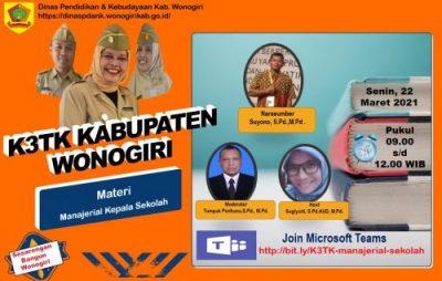 K3TK Wonogiri Virtual Meeting Bertajuk Manajerial Kepala Sekolah