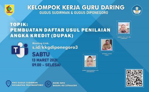 KKG Gugus Sudirman dan Diponegoro Pracimantoro Gelar WebinarPembuatan Daftar Usul Penilaian Angka Kredit