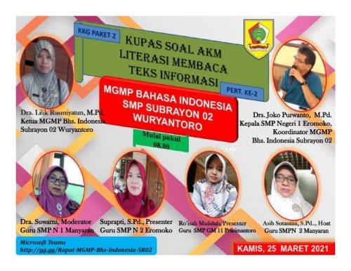 MGMP Bahasa Indonesia Subrayon 02 Kupas Soal Literasi Teks Informasi