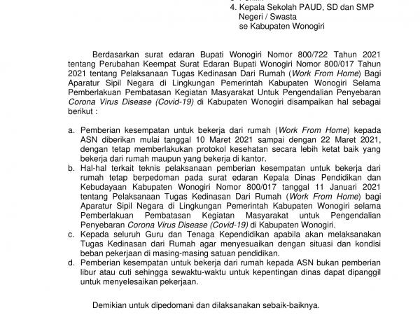 Surat Edaran Pelaksanaan Tugas Kedinasan dari Rumah (WFH)