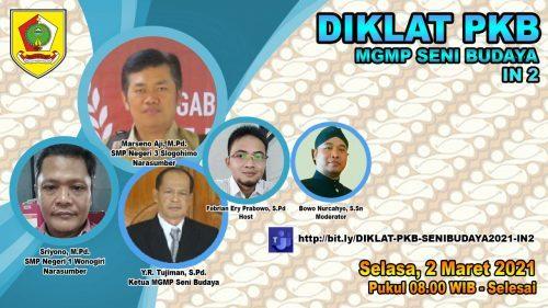 MGMP Seni Budaya Sukses Gelar Webinar Diklat PKB In-2