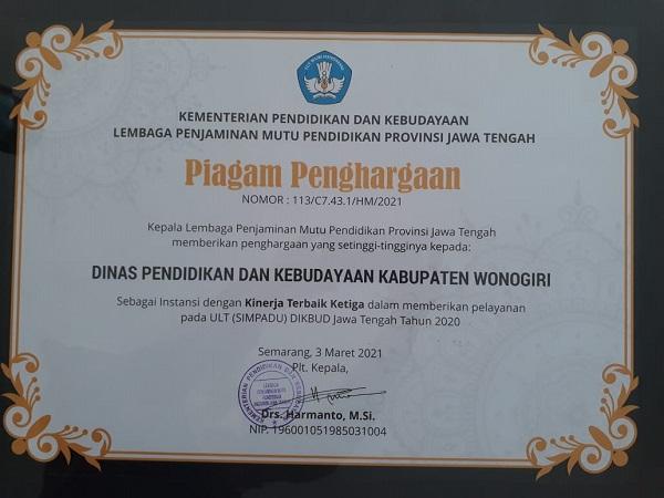 Penghargaan dari LPMP kepada Dinas Pendidikan dan Kebudayaan Kabupaten Wonogiri