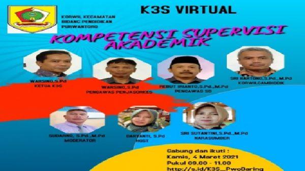 """K3S Purwantoro Gelar Pertemuan Virtual    Materi """"Kompetensi Supervisi Akademik"""""""