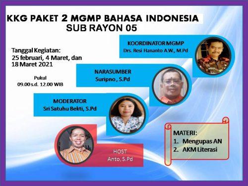MGMP Bahasa Indonesia Subrayon 05 Purwantoro selenggarakan KKG Paket 2