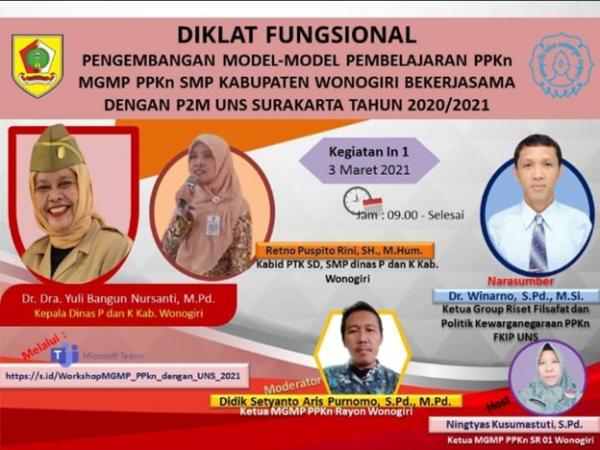 MGMP PPKn Rayon Wonogiri Gelar Diklat  Fungsional Bekerjasama dengan P2M UNS