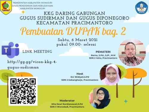 KKG Gugus Sudirman dan Diponegoro Pracimantoro Pelajari Pembuatan DUPAK