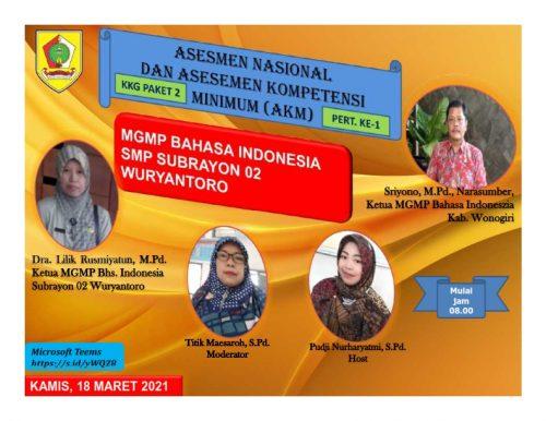 MGMP Bahasa Indonesia Subrayon 02  Kupas Asesmen Nasional dan Asesmen Kompetensi Minimum