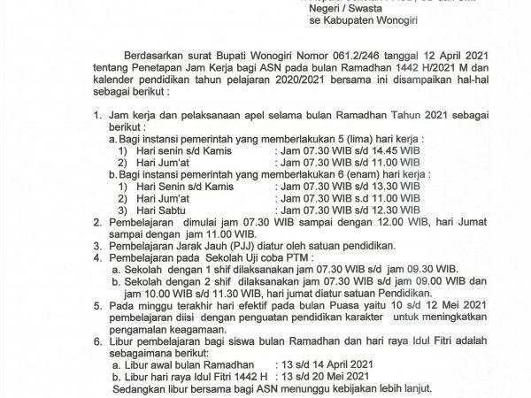 Surat Edaran Jam Kerja dan Pembelajaran Selama Ramadhan 1422 H / 2021 H