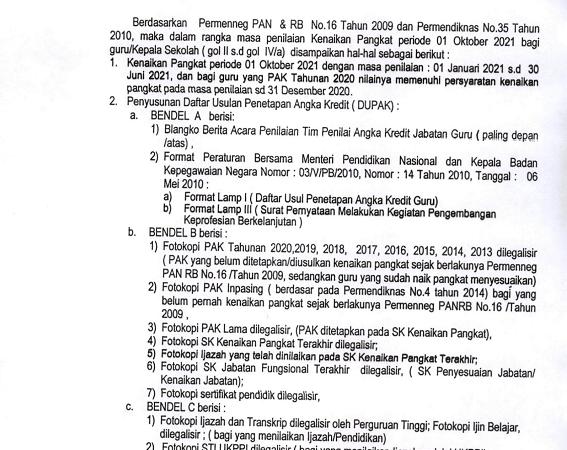 Edaran Usul Kenaikan Pangkat Periode 01 Oktober 2021 (Golongan II s.d IV/a)
