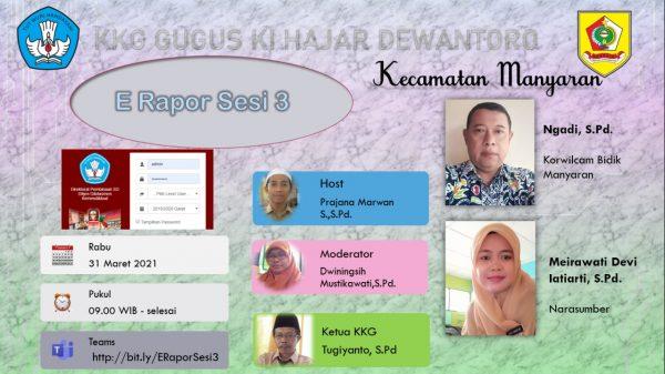 KKG Gugus Ki Hajar Dewantoro Gelar Virtual E-Rapor Sesi  ke-3