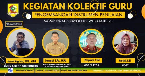 MGMP IPA Subrayon 02 Wuryantoro Mengakhiri KKG Paket 2 dengan Tema Pengembangan Instrumen Penilaian