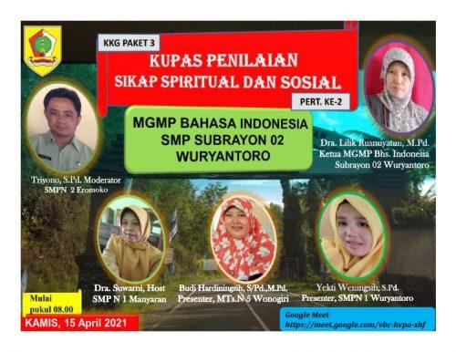 MGMP Bahasa Indonesia Subrayon 02 Kupas Penilaian Sikap Secara Virtual