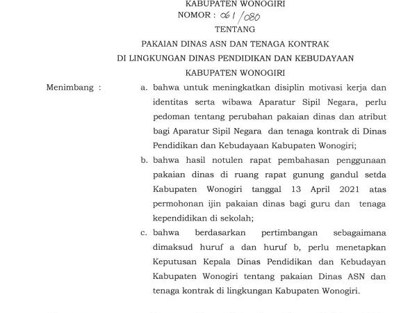 SK Tentang Pakaian Dinas ASN dan Tenaga Kontrak di Lingkungan Dinas P dan K Kabupaten Wonogiri