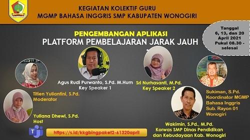 MGMP Bahasa Inggris Sub Rayon 01 Wonogiri Mengawali KKG Paket 2 dengan Pengembangan Aplikasi Platform PJJ