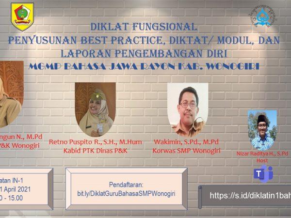 MGMP Bahasa Jawa  Rayon Wonogiri Laksanakan Diklat Fungsional Secara Virtual