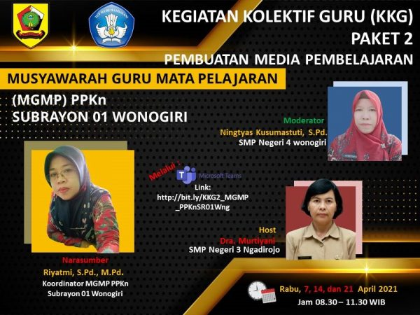 MGMP PPKn Subrayon 01 Kabupaten Wonogiri Selenggarakan KKG Paket 2